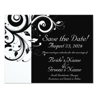 Black +White Reverse Swirl Wedding Save the Date 4.25x5.5 Paper Invitation Card