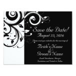 Black +White Reverse Swirl Wedding Save the Date Invite
