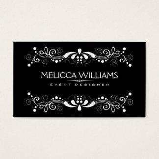 Black & White Reversible Floral Lace Element Business Card