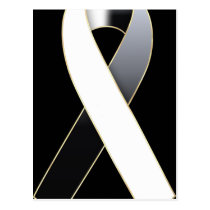 Black & White Ribbon Awareness Postcards
