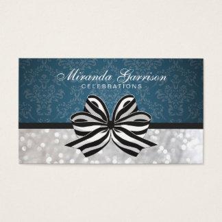Black White Ribbon / Blue Damask Business Card