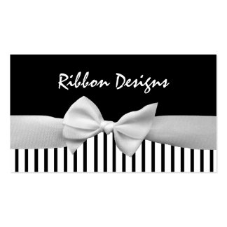 Black & white ribbon bow and stripes business cards