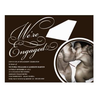 BLACK & WHITE RING | ENGAGEMENT DINNER INVITATION POSTCARD