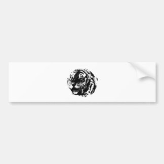Black & White Roaring Tiger Bumper Sticker