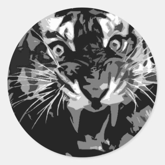 Black & White Roaring Tiger Classic Round Sticker