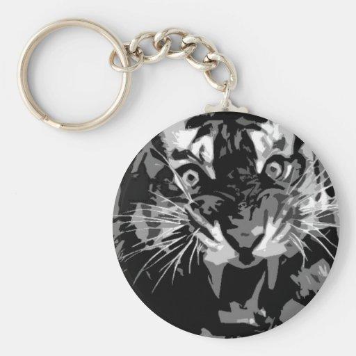 Black & White Roaring Tiger Key Chain