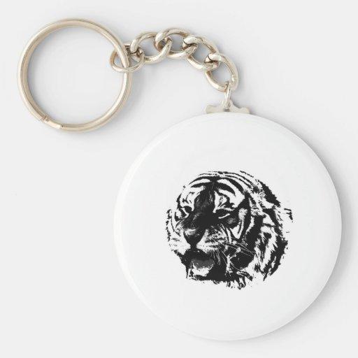 Black & White Roaring Tiger Keychain