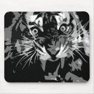 Black & White Roaring Tiger Mouse Pad