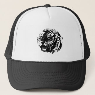 Black & White Roaring Tiger Trucker Hat