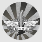 Black white Rock star electric guitar wings Classic Round Sticker