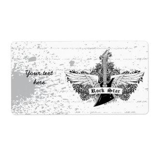 Black white Rock star electric guitar wings label