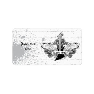 Black white Rock star electric guitar wings label