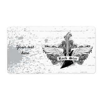 Black white Rock star electric guitar wings label Shipping Label