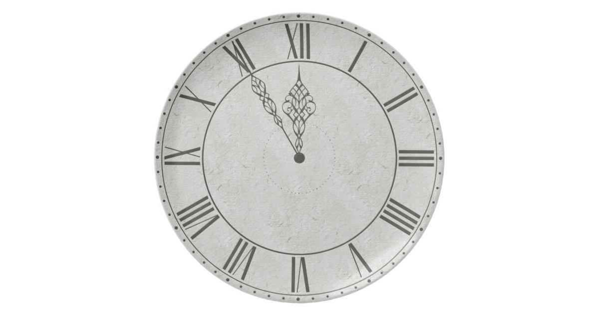 Black Amp White Roman Numeral Clock Face Melamine Plate