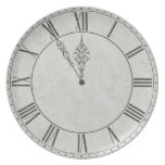 Black & White Roman Numeral Clock Face Party Plate