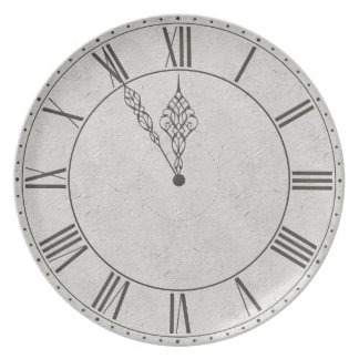 Black White Roman Numeral Clock Face Party Plate