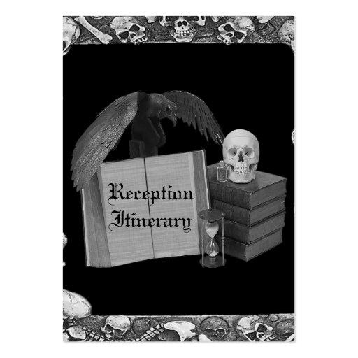 Black & White Romance Skull Spellbook Wedding Business Cards