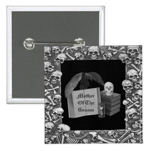 Black & White Romance Skull Spellbook Wedding 2 Inch Square Button
