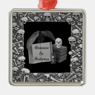 Black White Romance Skull Spellbook Wedding Ornaments