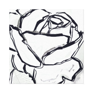 Black White Rose Artistic Lineart Painting Canvas Print