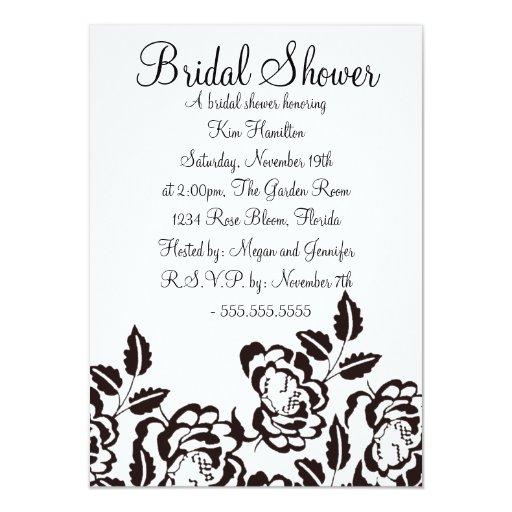 Black & White Rose Bridal Shower Invitation