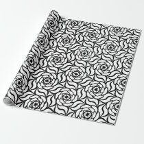 Black white Rose floral line art seamless pattern Wrapping Paper