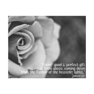Black & White Rose on Canvas Scripture James 1:17 Canvas Print
