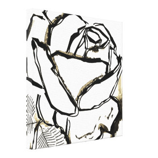 Black White Rose Pop Art Lineart Canvas Painting