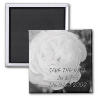 Black & White Rose - Save The Date 2 Inch Square Magnet