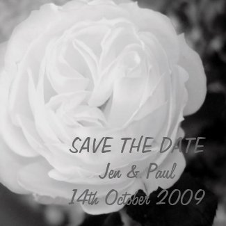 Black & White Rose - Save The Date magnet