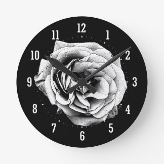 Black & White Rose - Wall Clock
