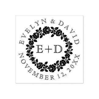 Black white rose wreath vintage monogram wedding rubber stamp