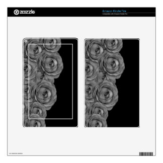 Black&White Roses Decal For Kindle Fire