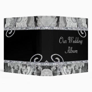 Black & White Roses & Diamond Swirls Wedding Vinyl Binders