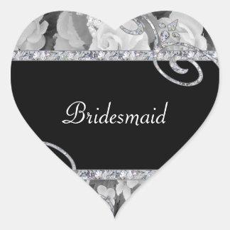 Black & White Roses & Diamond Swirls Wedding Heart Sticker