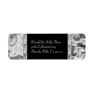 Black & White Roses & Diamond Swirls Wedding Label