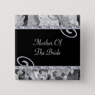 Black & White Roses & Diamond Swirls Wedding Pinback Button