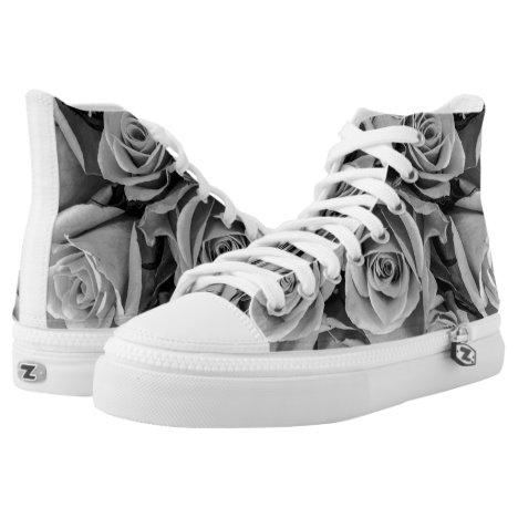 Black & White Roses High Top Tennis Shoes
