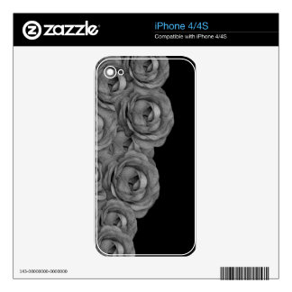 Black&White Roses Skins For iPhone 4
