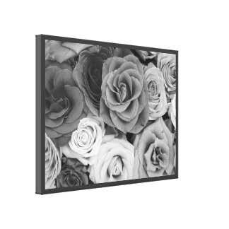 Black & White Roses Stretched Canvas Prints