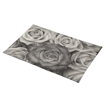 USA Themed Black white roses Trendy Placemat