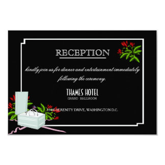 Black & White Roses Wedding Reception Card