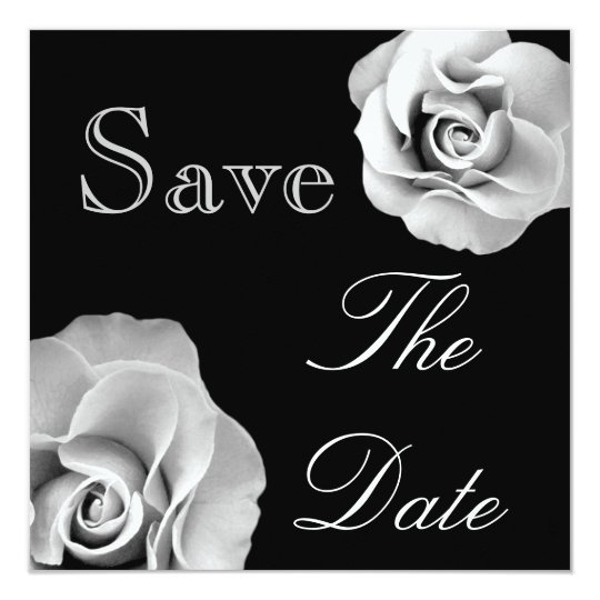 BLACK & WHITE Roses Wedding Save the Date Invite