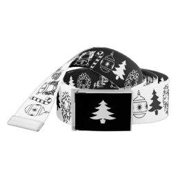 Black/White Rows Christmas Font Art Pattern Belt