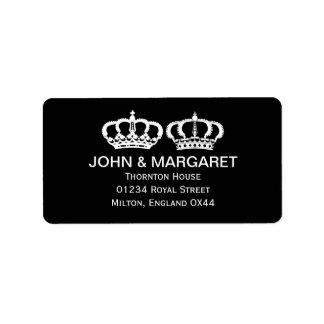 Black White Royal Couple Label