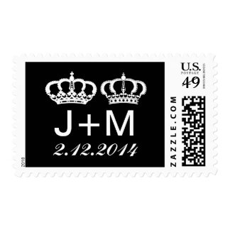 Black White Royal Couple Wedding Postage
