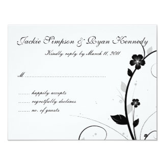 Black & White RSVP Card Floral Wall