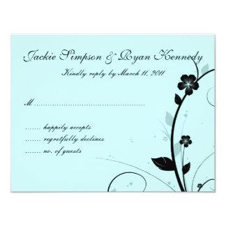 Black & White RSVP Card Floral Wall Blue
