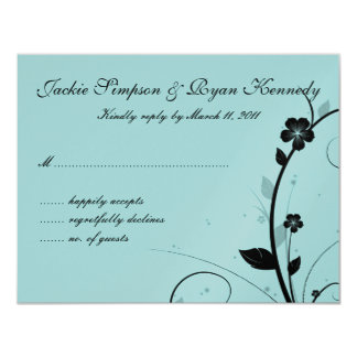 Black & White RSVP Card Floral Wall Blue Silver