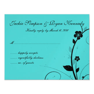 Black & White RSVP Card Floral Wall Blue Silver 2